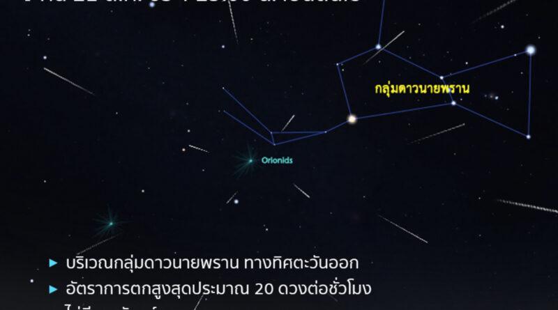 คืน 21 ตุลาคม สดร.ชวนชมฝนดาวตกโอไรออนิดส์