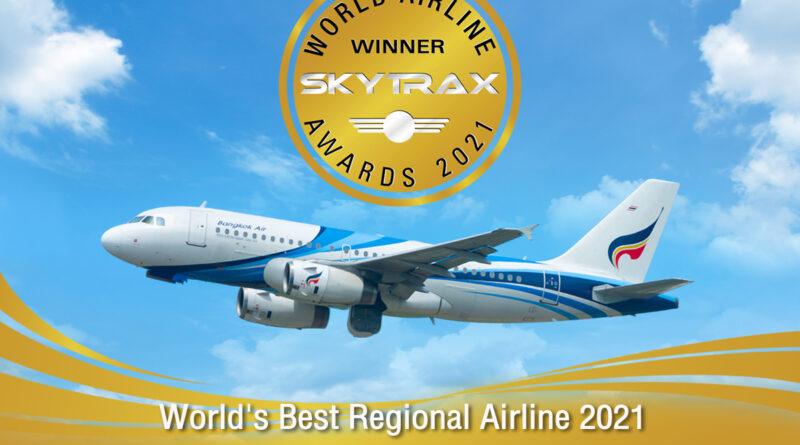 """บางกอกแอร์เวย์สคว้า 2 รางวัล สกายแทรกซ์ เวิลด์ แอร์ไลน์ อวอร์ด ประจำปี 2564""""สายการบินระดับภูมิภาคที่ดีที่สุดในโลก"""" และ """"สายการบินระดับภูมิภาคที่ดีที่สุดในเอเชีย"""" ติดต่อกัน เป็นปีที่ 5"""